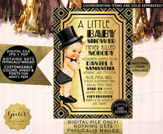 Gatsby Baby Shower Invitations, Black and Gold, Vintage, 1920s themed, Boy Invites, Printable 5x7 Gvites