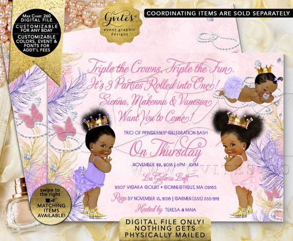 "Triple Birthday Pink Lavender Gold. Ribbons Bows Diamonds and Pearls Vintage Baby Afro Puffs. Printable/Digital File. 7x5"" JPG + PDF"