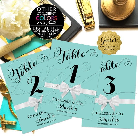 Sweet 16 Table Numbers/ Quinceanera/ Breakfast Themed Blue/ Printable Cards/ Decorations/ Party/ DIY/ 4x6 or 5x7. DIGITAL FILE! Gvites