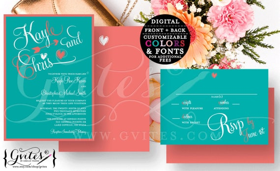 Teal and Coral Wedding Invitation Set/ Double Sided Wedding Invite plus Response Card RSVP/ Printable Digital