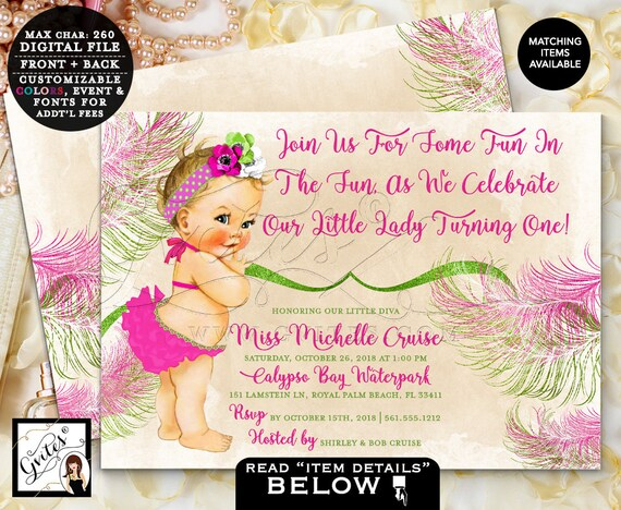 "Pool Party, First invitations, Pink and green, adorable swimsuit, baby girl, double sided cards, invite, 1st birthday  7x5"" DIGITAL, Gvites."