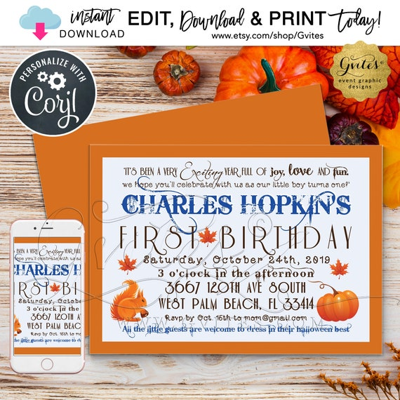 "Pumpkin First Birthday BOY Invitation/Fall baby invites/Autumn vintage turning one. Blue/Orange 7x5"" Double Sided. INSTANT Download"