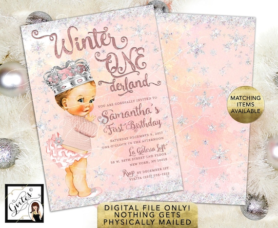 Winter One/Wonderland Birthday Girl Vintage Invitations | Snowflake Princess | 5x7 double sided by Gvites