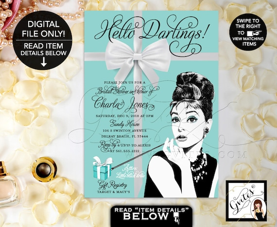Audrey Hepburn Bridal Shower PRINTABLE Invitation/ Breakfast at & Co themed wedding shower/ 5x7 Digital File by Gvites