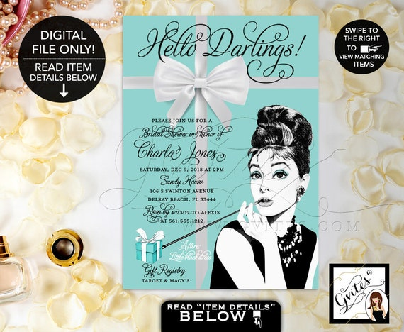 Audrey Hepburn Bridal Shower PRINTABLE Invitation / Breakfast at & Co themed wedding shower / 5x7 Digital File by Gvites