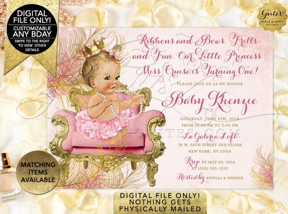 "Blush Pink Gold Invitations First Birthday Royal Princess | Vintage Girl Invitation 7x5"" ] CWCHS-101"