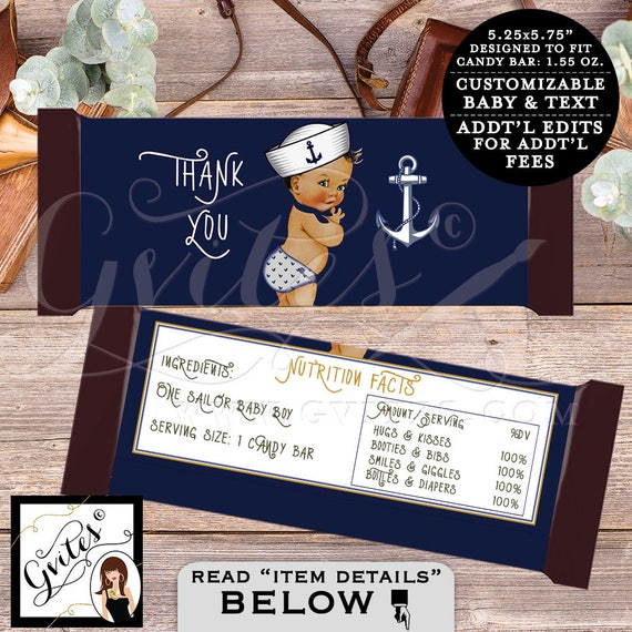 Nautical Candy bar wrapper little sailor BABY BOY/ chocolate customizable/ ahoy its a boy. 2 Per Sheet {You Print}