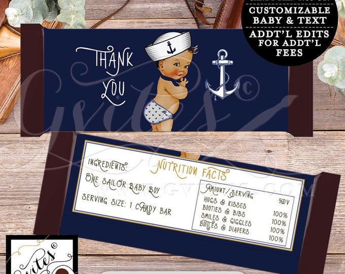 Nautical Candy bar wrapper little sailor BABY BOY, chocolate customizable, ahoy its a boy. 2-Per/Sheet {You Print}