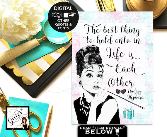 """Audrey Hepburn Quote Breakfast bridal shower decor wall art {4x6"""" or 5x7""""} By Gvites"""