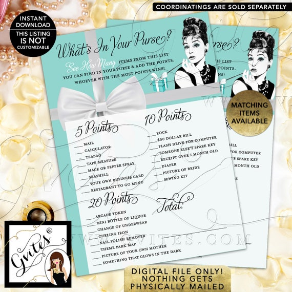 "What's in your purse Audrey Hepburn Bridal Shower Game Cards | Printable Digital File | JPG + PDF | Instant Download | 5x7"" 2/Per Sheet"