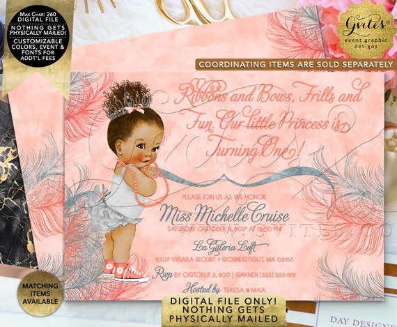 "Coral & Silver Glitter First Birthday Invitation | Afro Puffs Vintage | Printable Digital File | JPG + PDF | 7x5"" Double Sided"