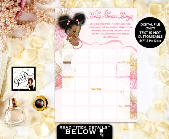 Baby Shower Games Bingo Card/ Pink & Gold African American Baby Girl Afro Puffs/ Ivory blush pink Gold Glitter PRINTABLE Game