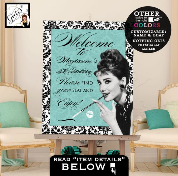 Audrey Hepburn Party Welcome Signs/ Vintage Party PRINTABLE Sign/ Turquoise Blue Party Art