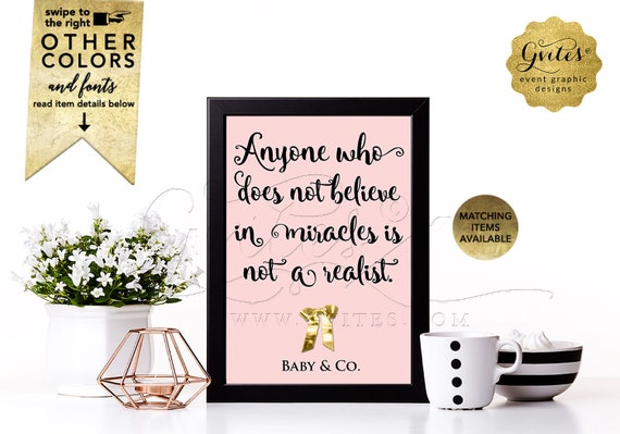 """Baby and Co Decorations. Audrey Hepburn Quotes Table Decor, Baby Shower Pink and Gold {4x6"""" or 5x7""""}"""