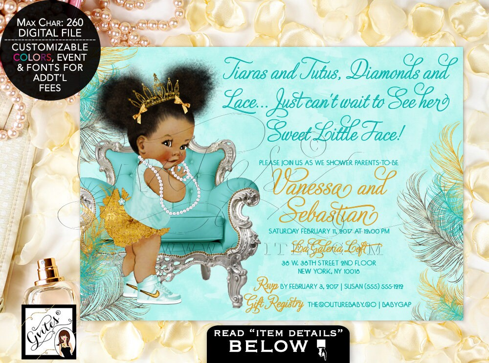 Turquoise gold princess baby shower invitation vintage baby girl turquoise gold princess baby shower invitation vintage baby girl african american invitations tiara gold 7x5 afro puffs gvites filmwisefo