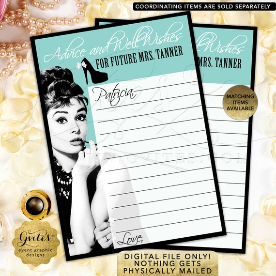 Bridal shower Games/ Audrey Hepburn Advice Cards PRINTABLE advice card/ Wedding Well Wishes Bride & Co Blue theme Breakfast at Wishes