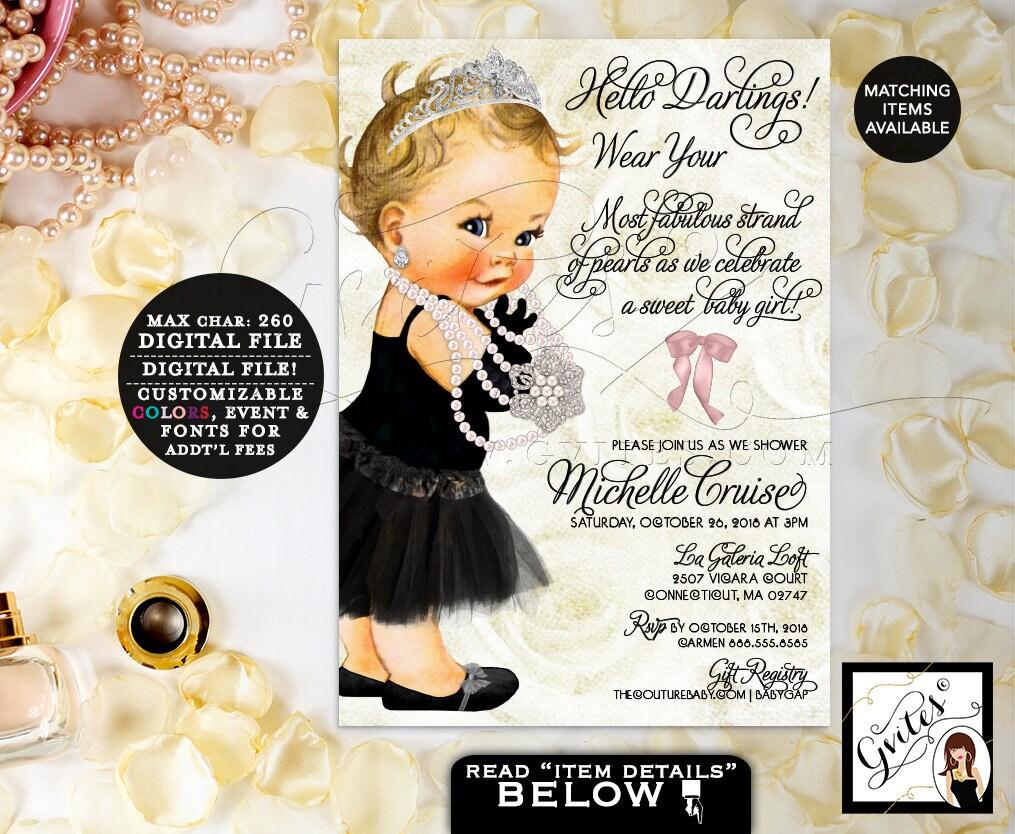 Beige Ivory Black baby shower invitation, diamonds pearls princess ...