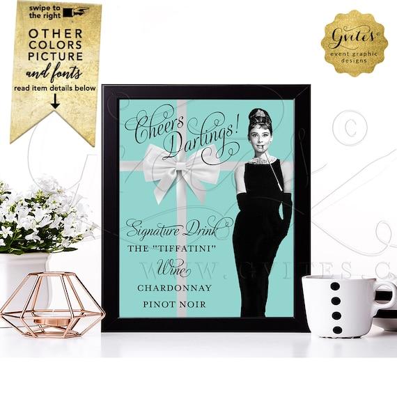 "Personalized Drink Sign. Signature Drink ""The Tiffatiny"" Wine Menu Table Decor. Chardonnay/Pinot Noir Audrey Hepburn Theme Table Decorations"