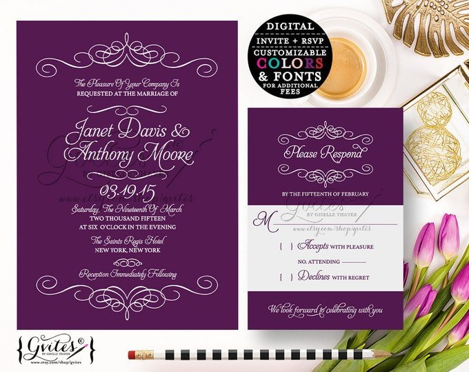 Purple wedding invitation printable, eggplant digital invites, printable wedding invitations, diy, download, template. {Digital Only}