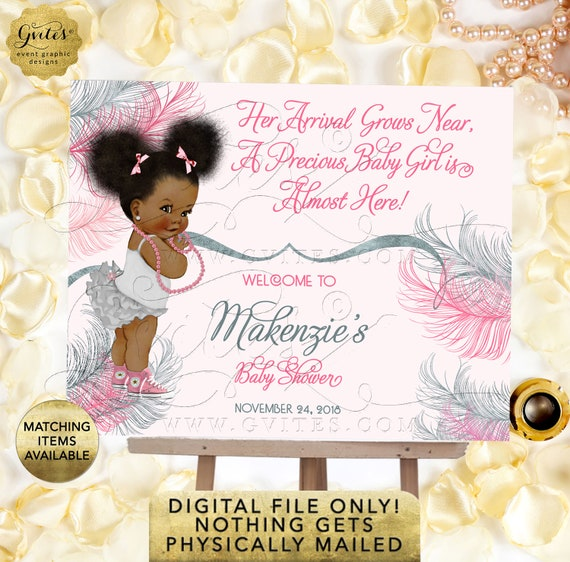 Welcome Baby Pink and Silver Baby Shower Sign, Afro Puffs Vintage African American Baby Girl. Printable, Digital File Only!