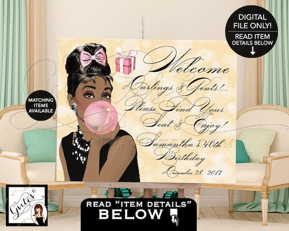 40th Birthday Welcome Sign Poster Audrey Hepburn birthday, breakfast at, African American Printable, Digital, DIY, Gvites {Gold Bokeh}