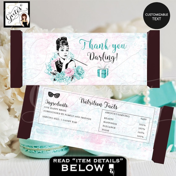 Audrey Hepburn Candy bar wrapper Labels/ Blue Breakfast at & Co Theme Decorations/ Printable bridal shower gifts