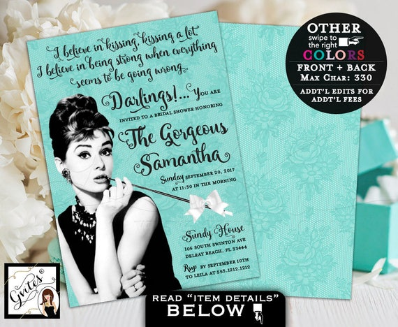 Breakfast at Bridal Shower Invitation Audrey Hepburn | By Gvites
