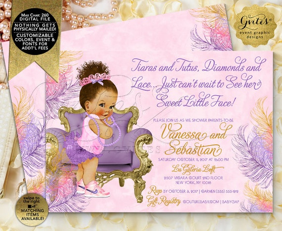 "Purple and Pink Gold Baby Shower/ African American Princess Invites/ Afro Bun Puffs Tiara Digital file/ Printable/ 7x5"" Double Sided"