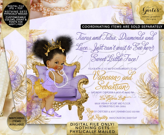 Purple Lavender Gold & Silver Baby Shower Invitations/ Princess Ballerina Tutu Afro Puffs Ethnic Baby Invitation/ PRINTABLE invitations