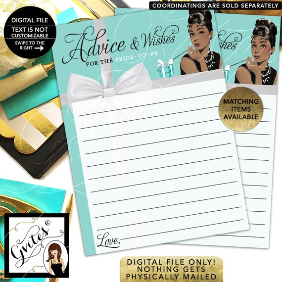 """Advice Cards and Well Wishes, Printable African American Audrey Hepburn Party Theme, Breakfast at, 5x7"""" 2 Per Sheet {INSTANT DOWNLOAD}"""