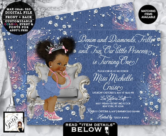 First Birthday Invitations Denim & Diamonds / Vintage Princess Baby Blue Pink Afro Puffs African American ethnic invitations