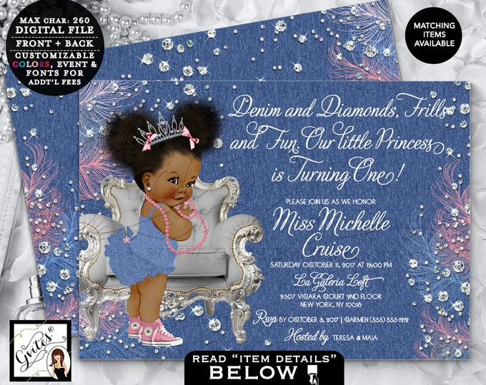 Denim and Bows First Birthday Invitation, Frills and Fun, Diamonds and Pearls, Tiara, Afro Puffs, African American, Blue Pink Silver, 7x5
