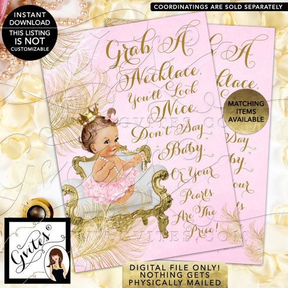 Don't Say Baby Pearl Games Princess Baby Shower Vintage/ 3 Skin Tones/ Little Princess Baby Pink Dress Gold Crown Pearl Necklace