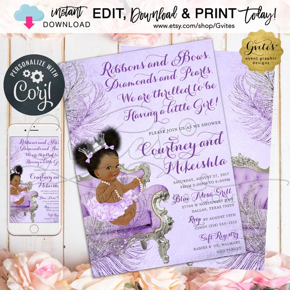 Purple/Lavender Silver Baby Shower Invitation | Afro Puffs Princess | Ribbons Bows Diamonds & Pearls {Edit YOURSELF with Corjl}