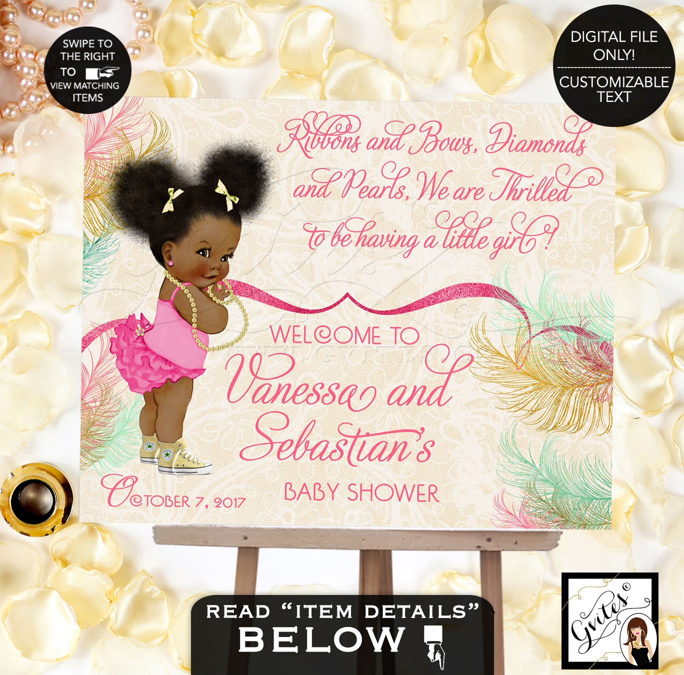 Cute Pink Ballerina Baby Shower Invitation Ethnic Invitations