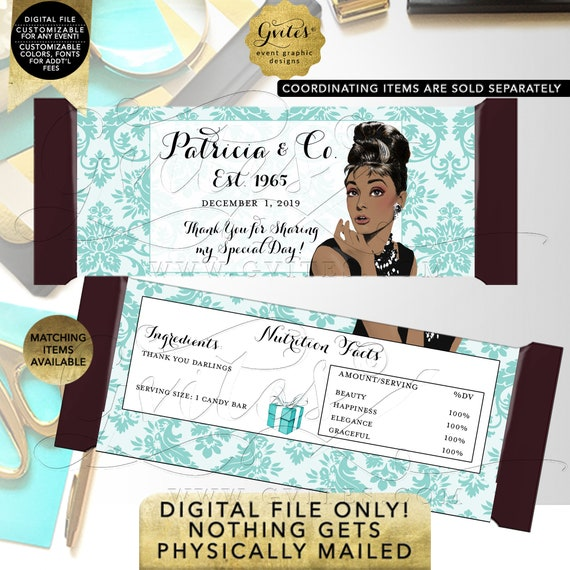 Candy Bars Personalized Wrapper Labels / Party Favors / Gifts Table Decorations / Audrey Hepburn African American. Any Event!