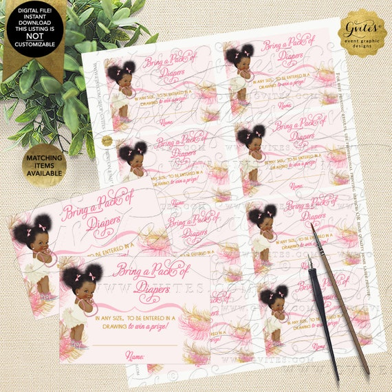 "Pink and Gold Afro Puffs Diaper Raffle Ticket Inserts | Instant Download 3.5x2.5"" 8 Per Sheet 
