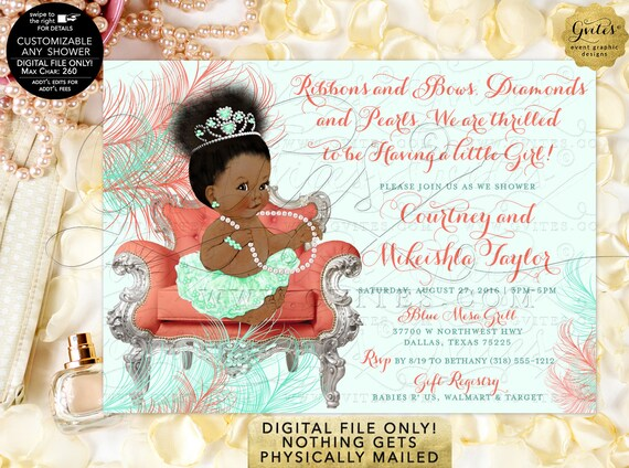 Tiaras Gems Baby Shower Afro Bun Invitation