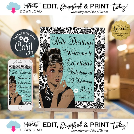 50th Welcome Birthday Party Signs / Audrey Hepburn Poster Decor / African American Breakfast. Edit w/Corjl! {Can print: 22x28 + 11x14}