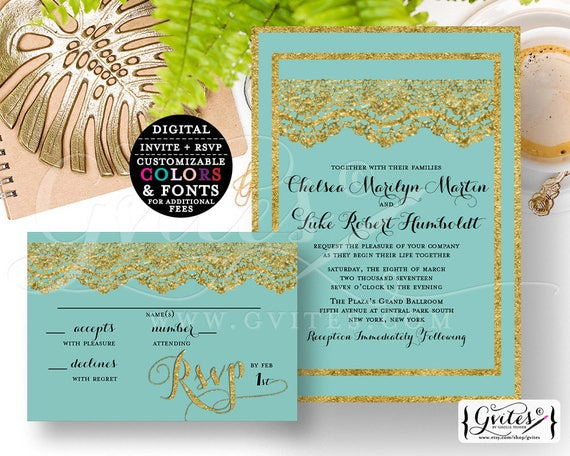 "Gold Wedding Invitation Printable Set, Robbins Egg and Lace Digital Customizable Invites, Modern Elegant Invite {Invite 5x7"" RSVP 5x3.5""}"