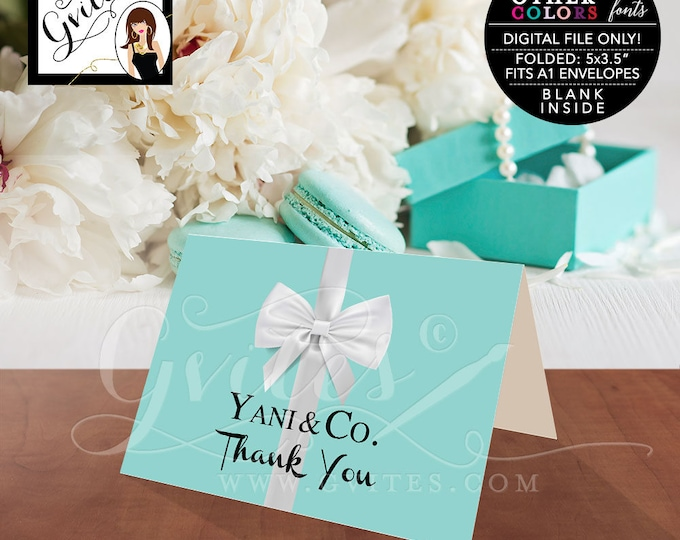 "Thank You Card Breakfast at blue theme bridal shower, baby birthday sweet 16. Digital file only.  5x3.5"" 2 Per/Sheet"