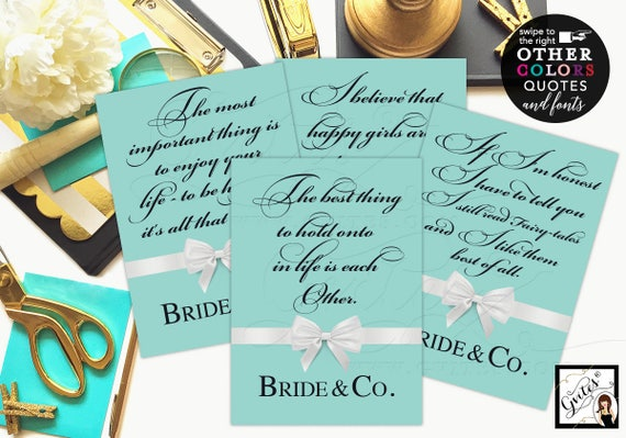 Bridal Shower Signs Decorations/ Bride and Co quote signs/ Audrey Hepburn Quotes/ breakfast at bridal signs. Set of 4 {4x6 or 5x7}