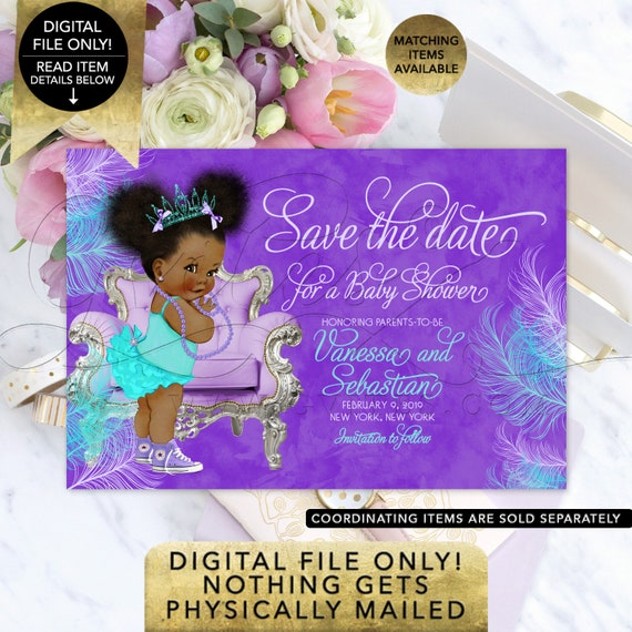 "Purple Lavender Blue Save The Date Baby Shower | Tiara Princess Printable | Afro Puffs African American Vintage 7x5"" Gvites."