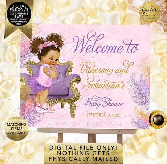 Purple Pink and Gold Welcome Signs Baby Shower/ Afro bun puffs/ ethnic princess printable poster sign. DIY/ Digital File/ Printable/ Gvites.