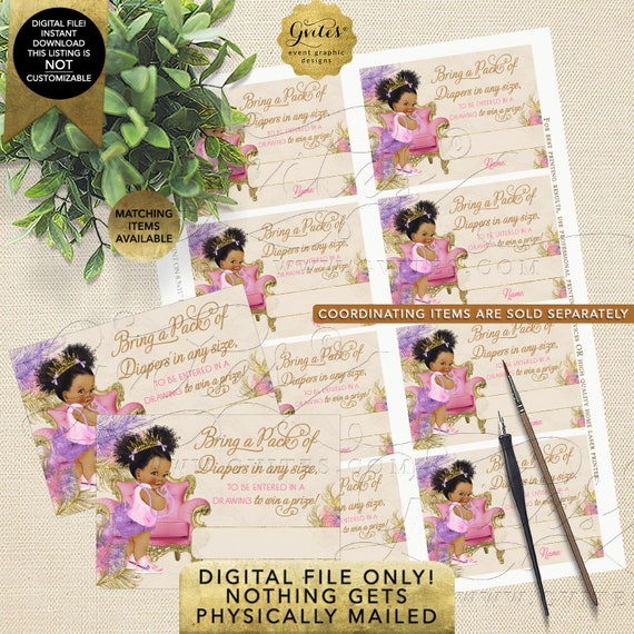 Diaper Raffle Cards Pink Purple Gold | Dark Puffs/Curly | Instant Download JPG + PDF | Design: TIACH-120