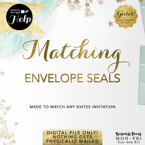 "Matching Envelope Seals - To coordinate with any Gvites design. Available Size(s) 1.5x1.5""/1.66x1.66"" Compatible with Avery® Labels"