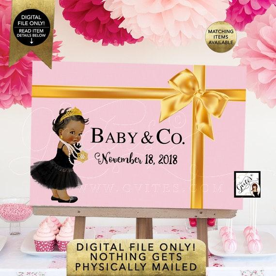 Baby & Co Dessert Table Backdrop Decoration | Gold Satin Ribbon | African American Vintage | Printable Digital File JPG + PDF