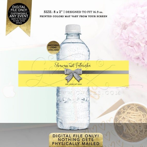 Water Bottle Labels Anniversary Labels Party Favors Yellow Silver | Printable Digital PDF + JPG Format