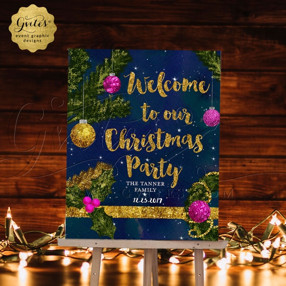 Christmas Welcome Sign/ Holiday Party Printable Signage/ Welcome to our Family Christmas Party/ Christmas Tree Gold Ornaments