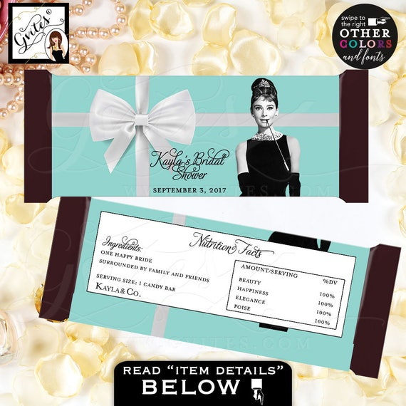 Audrey Hepburn & Co Candy Bar Wrapper Labels Turquoise Silver White Ribbon Bow   Medium Tone Vintage Woman   PRINTABLE party favors